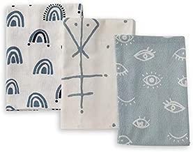 Folkulture Cotton Kitchen Towels and Dishcloths Set with Hanging Loop, Set of 3 Flour Sack Dish Towels and Dish Cloths for Drying Dishes, Highly Absorbent Decorative Tea Towels, 20 x 26 Inches, Mystic