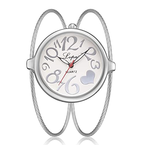 2021 - Reloj de pulsera femenino de lujo con esfera de aleación de 32 mm, para mujer, de cuarzo, color blanco y plateado
