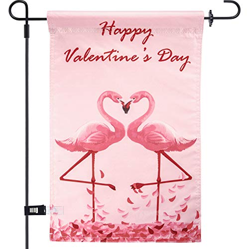 Chuangdi Garden Flag 12 x 18 Inch Decorative Valentine Day Heart Garden Flag with 1 Rubber Stopper...