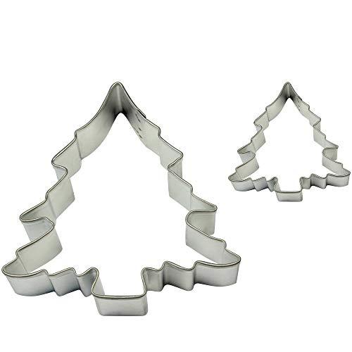 PME SC602 Formine per Biscotti Albero di Natale, Acciaio Inossidabile, Argento, 2 unità