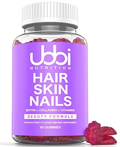 Ubbi Nutrition - Hair Skin and Nails Gummies with 6000 mcg of Biotin, Collagen, Vitamin A, B6, B12, C, D & E, Hair Growth, Hair Vitamins
