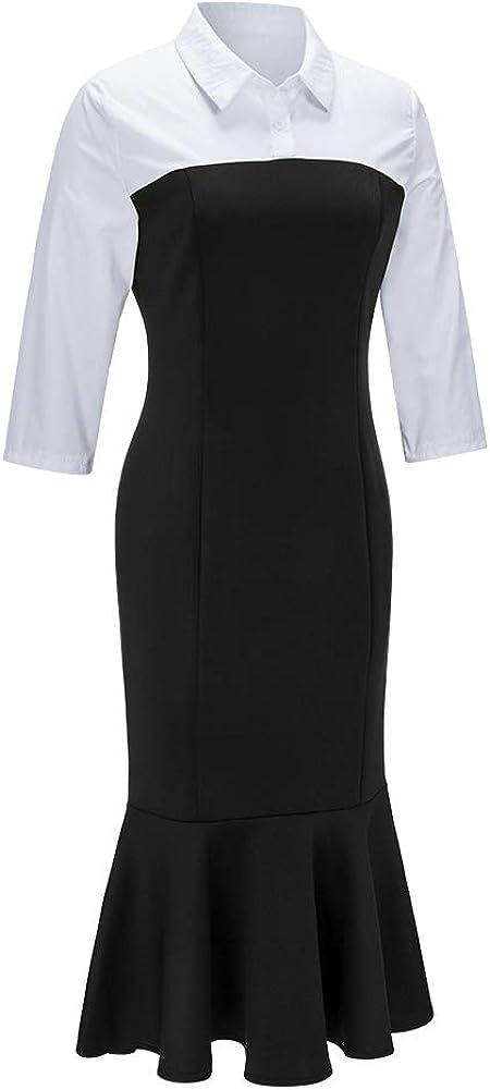 ECHOINE Women's Bodycon Formal Office Dresses Black White Colorblock Wear to Work Sheath Pencil Dress