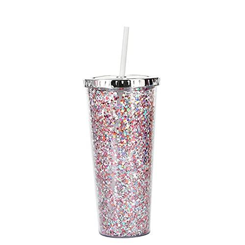 QIANJINGCQ Nueva taza de paja de plástico de 24 oz Taza de agua con purpurina europea y americana Taza de agua potable fría