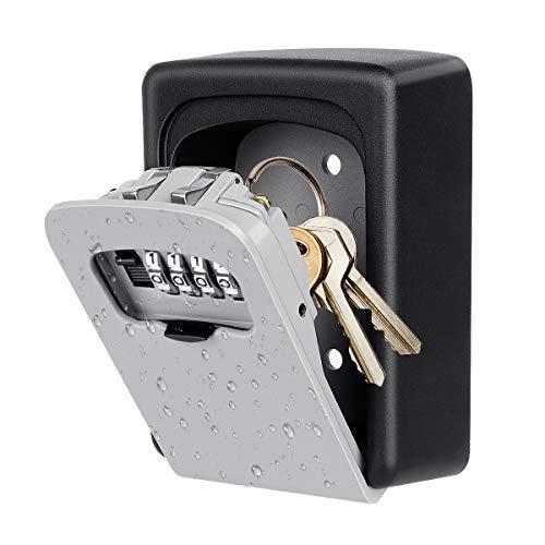 Key Lock Box Wall Mounted, 4 Digit Combination Lock Box for House Key Weatherproof Safe Security Key Storage Lock Box for Outside Realtors Garage Spare Keys (Grey)
