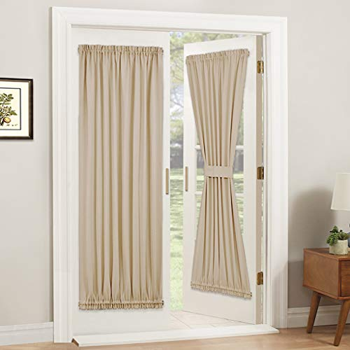 PONY DANCE Door Curtain Panel - Room Darkening Rod Pocket Sliding Glass Door Drapes Privacy Light Block for Front French Door with Bonus Tiebacks, 54 x 72-inch, Biscotti Beige, 1 Piece