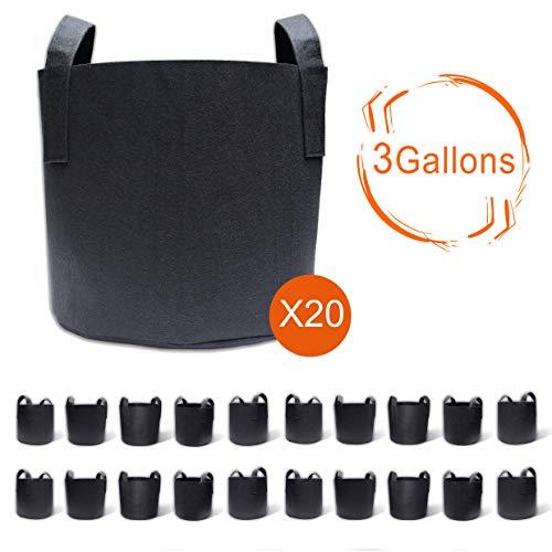 Gardzen 20-Pack 3 Gallon Grow Bags, Aeration Fabric Pots with Handles,...