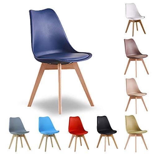 P&N Homewares Lorenzo Tulip Chair Kunststoff Wood Retro Dining Chair White Black Gray Red Yellow Pink Green Blue