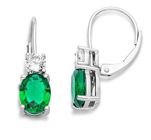 Miore Hängend Ohrringe Für Damen aus 925 Sterlingsilber mit Smaragd und Zirkonia