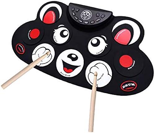 HXGL-Trommel Handrolle Elektronische Trommel Kinder Tragbare Falten Anf er gegen Selbststudium Professionelle Schlagzeug Spielen (Farbe   rot)