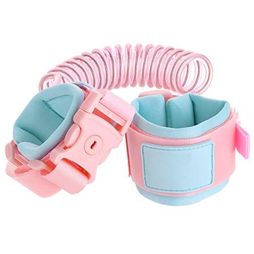 Besylo Bebé Anti-perdido Cinturón, Cinturón de mano para caminar de 1,5 m para niños pequeños, pulsera con correa de seguridad giratoria de 360 °con cuerda de alambre elástico y candado de seguridad