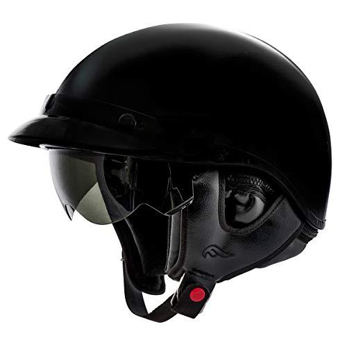 Fulmer, AF-96B24005, Adult Motorcycle Half Helmet with Retractable Inner Sun Shade - Gloss Black, Large