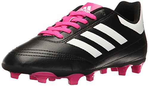 adidas Performance Kids Goletto VI J Firm Ground Soccer Cleats, Black/White/Shopin, 6 Medium US Little Kid