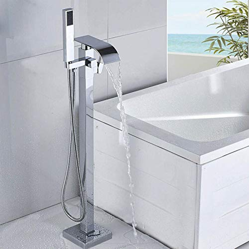 Rozin Verchromter Badewannenarmatur, freistehend, für Badezimmer, Bodenmontage, Wasserfallauslauf mit Handbrause, kalt und heiß, Einhandmischer