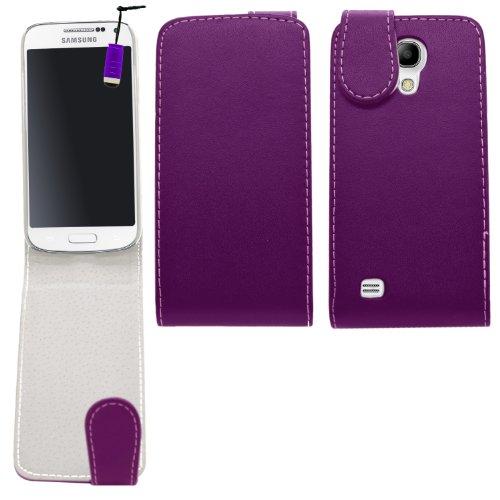 Samrick 000037794 Flip Cover in pelle per Samsung Galaxy S4 Mini i9190/i9192Mini (Dual-SIM) con Pellicola protettiva Schermo/Microfibra Viola