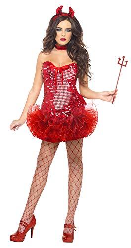 Fever 38872 - Disfraz de Diablo Rojo con Lentejuelas, Vestido de tutú de Cuernos y Cuello, para Halloween, Talla M, 38872