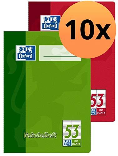 Oxford Schule Vokabelheft A6, mit 2 Spalten, 32 Blatt, sortiert rot und grün, 10er Pack