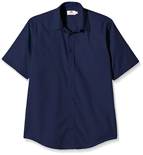 Fruit of the Loom Herren Poplin Short Sleeve Freizeithemd, Navy, X-Large