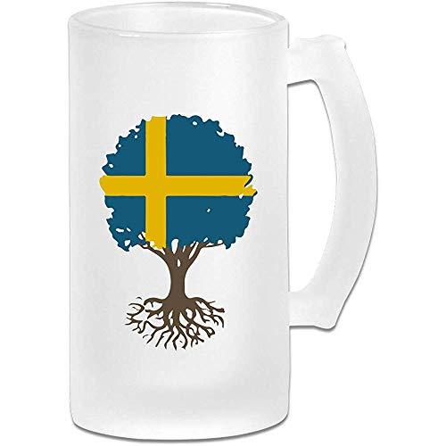 Levensboom met Zweedse vlag Frosted Glass Stein Beer Mok, Pub Mok, Drank Mok, Cadeau voor Bier Drinker, 500Ml (16.9Oz)