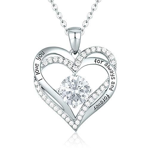 CDE 925 Sterling Silber Roségold Herz Halskette, 5A Zirkonia Birthstone Anhänger Kette Damen Muttertag Schmuck Geschenk mit Box (Sterlingsilber April)