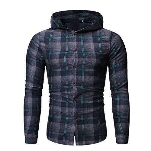 Find Bargain Men Plaid Hooded Jacket Long Sleeve Lattice Painting Hoodie Winter Slim Fit Button Top ...