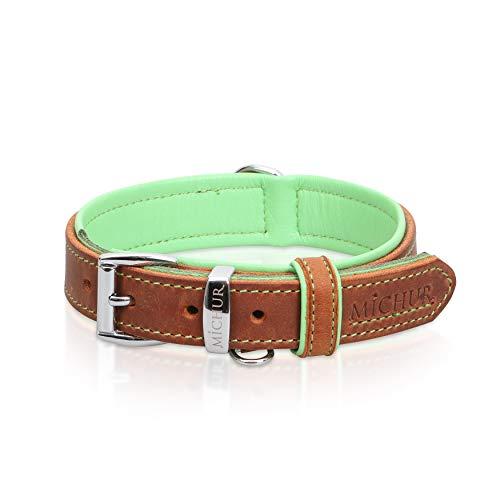 MICHUR Charly Hundehalsband Leder Braun Grün, Lederhalsband Hund, Halsband, Leder, in verschiedenen Größen erhältlich