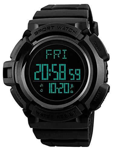 Digitaluhr Jungen Mädchen im Freien wasserdichte elektronische Alarmanlage Multifunktionale leuchtende Armbanduhr (schwarz)