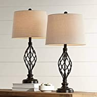 Annie Traditional Rustic Farmhouse Table Lamps Set of 2 Bronze Iron Scroll Tapered Cream Drum Shade for Living Room Bedroom House Bedside Nightstand Home Office Entryway Family - Franklin Iron Works