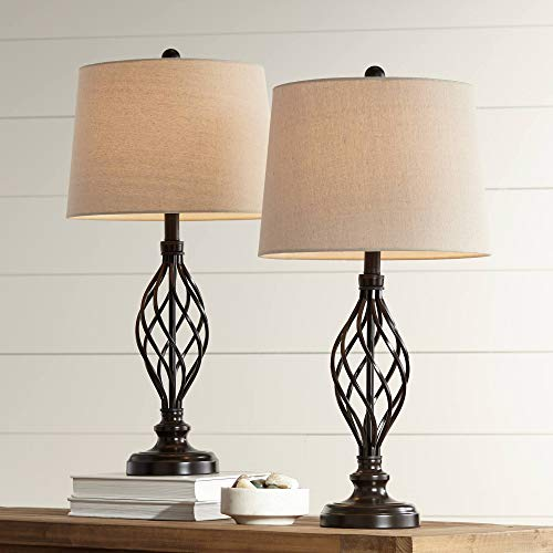 Annie Traditional Table Lamps Set of 2 Bronze Iron Scroll Tapered Cream Drum Shade for Living Room Family Bedroom - Franklin Iron Works