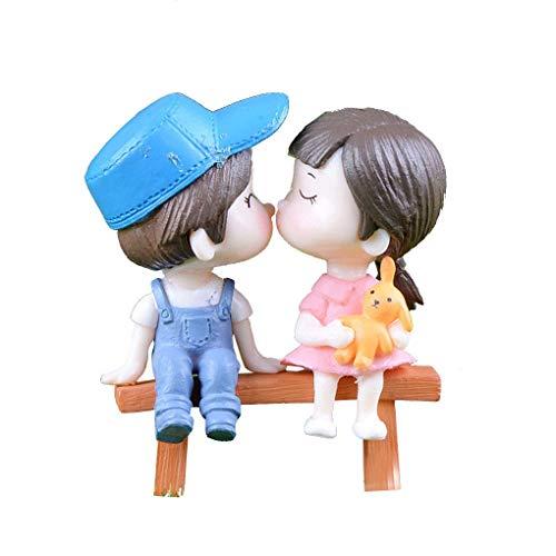 F-blue Mini PVC de heces Parejas muñecas insertan miniaturas de Hadas Decoración Dollhouse Miniatures Jardín Decoración Casa de muñecas DIY Figurita Musgo Ornamento Bonsai