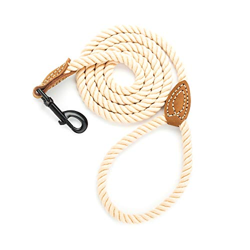 Mile High Life Braided Cotton Rope Leash with Leather Tailor Handle and Heavy Duty Metal Sturdy Clasp (Light Brown, 4 FT)