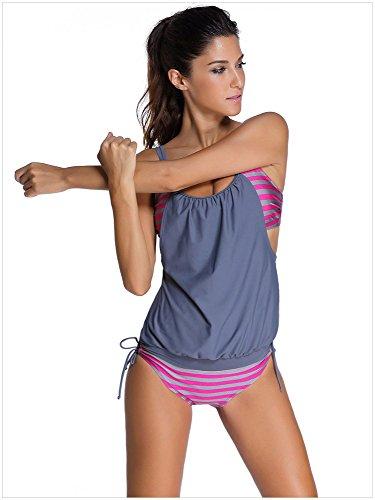 UIOP Badeanzug weiblich, Suspender-Bikini, gefälschte Zweiteilige, mehrfarbige Streifen, konservativer Split-Badeanzug, Damenplus Größe zum Schwimmen, Wading, (S-XXXL),Gray,XXL