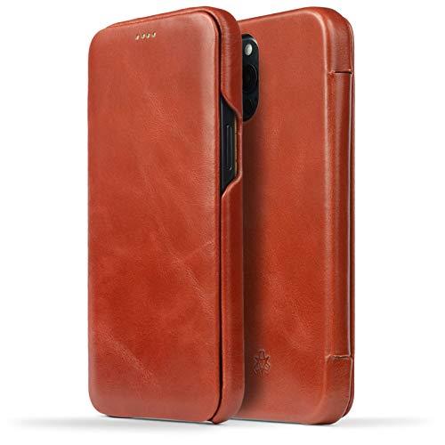 NOVADA Schutzhülle für iPhone 12 Pro Max (echtes Leder), Hellbraun