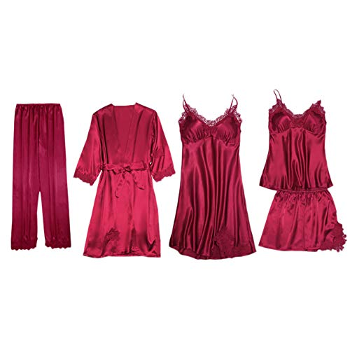 Mujer Conjunto Pijamas Ropa de Dormir Elegante Sexy Lencería Pijama Sets de Satinada Pantalones Corto Pantalón Largo Bata de Seda Cuello V Camisón de Noche Chaleco de Encaje Camisola 5 Pedazo B L
