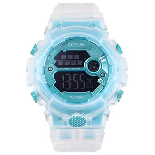 Reloj Niño Yuan Ou Reloj Deportivo para niños para niños, Adolescentes, niños, Relojes electrónicos Digitales, Reloj de Pulsera, gelatina Transparente, Impermeable, Azul para Nadar