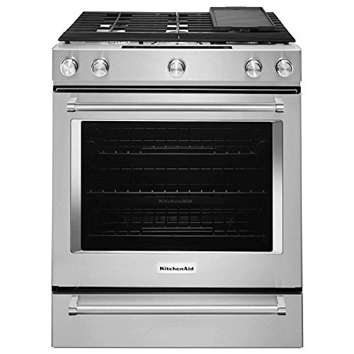 KitchenAid KSDB900ESS 7.1 Cu. Ft. 5 Burner Dual Fuel Slide-in Range