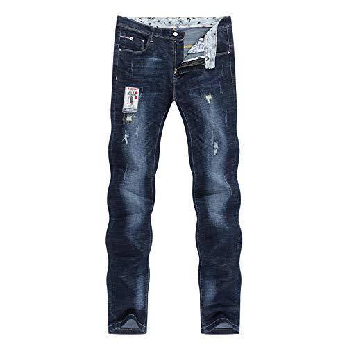 Pantalones Jeans Vaqueros Men Jeans Stretch Dark Blue Slim Fit Ripped Biker Jeans Man Casual Patchwork Hip Hop Mens Pants Denim Clothes 36 Blue