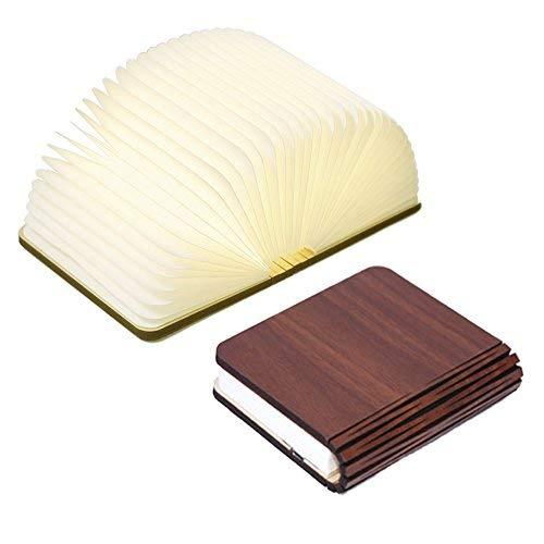 Innerest Night Light Wooden Book Folding Lamp Desk Table Home Décor Kids Bed Lighting (Maple Wood,...