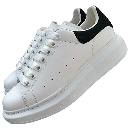 Alexander McQueen White with Black Heel Oversize Sneakers New/Authentic (Numeric_8_Point_5)