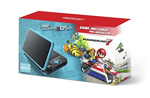 New Nintendo 2DS XL - Black + Turquoise With Mario Kart 7 Pre-installed - Nintendo 2DS (Renewed)