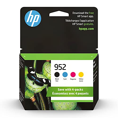 Original HP 952 Black, Cyan, Magenta, Yellow Ink Cartridges (4-pack) | Works with HP OfficeJet 8702, OfficeJet Pro 7720, 7740, 8210, 8710, 8720, 8730, 8740 Series | Eligible for Instant Ink | X4E07AN