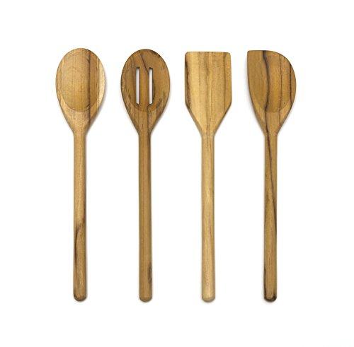 Lipper International Teak Wood Kitchen Tools for Cooking, 4-Piece Set, 11