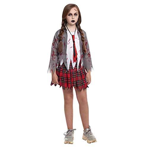 H HANSEL HOME Disfraz Zombie Colegiala Infantil - Niña - Incluye Camisa + Falda + Corbata Cosplay/Carnaval/Halloween Size 4-6 años