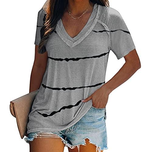 Fmkaieo Camiseta de mujer con cuello en V y rayas de moda de verano, elegante, informal, de verano, de verano, para mujer, holgada, cómoda