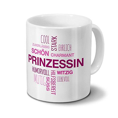 printplanet Tasse mit Namen Prinzessin Positive Eigenschaften Tagcloud - Pink - Namenstasse, Kaffeebecher, Mug, Becher, Kaffeetasse