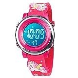 BIGMEDA Reloj Digital para Niños Niña, Luz Intermitente LED de 7 Colores Reloj de Pulsera Niña Multifunción, para Niños de 3 a 12 años (RojoUnicornio)