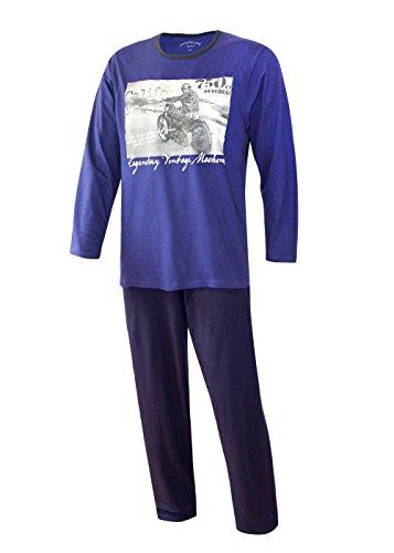 Herren Pyjama lang Herren Schlafanzug Übergrösse Plusgrösse lang Hausanzug Herren aus 100{cb92e9dc4022a28df1d833ec5c332f2acdb7358dc75ed8b7ad5a04a569014396} Baumwolle Model Vintage (L/52, Harley Blau)