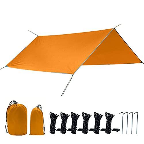 Hamaca lona lluvia lluvia refugio ultraligero Blackout Camp Shade para acampar senderismo senderismo viajes al aire libre (naranja)