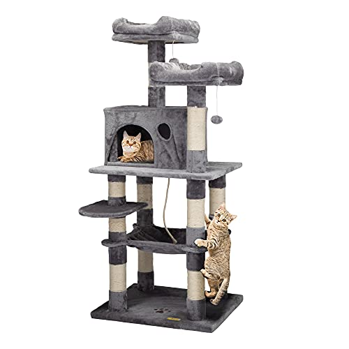"""COZIWOW 57"""" Cat Trees and Towers with Scratching Posts Condos Hammock Resting Perch, Indoor Pet Activity Furniture Play House for Large Cats Kitty Kitten"""