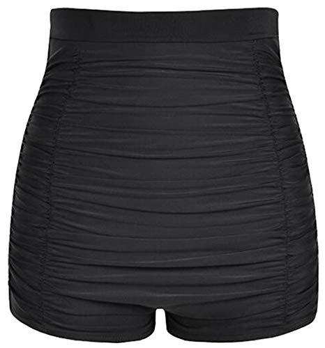 Lovache Damen-Badeshorts mit hoher Taille, gerüschtes Boyleg-Bikini-Höschen Gr. 50, Schwarz