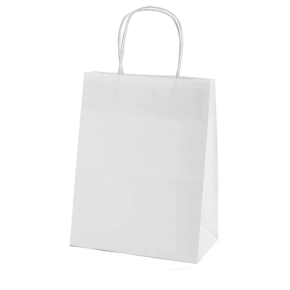 XYBAGS Gift Tote Bags, Small White Kraft Paper Candy Bags, Trick or Treat Bags with Handle for Birthday Wedding Halloween Christmas Party, 8 1/3 Inche, 10 Pack Kids Gifts Bags